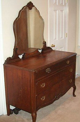 Antique Dresser With Large curved Beveled Mirror - Just Beautiful