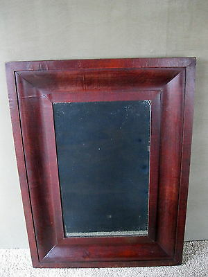 Antique Mirror 19th Century EMPIRE Large Mahogany Frame Wood Back