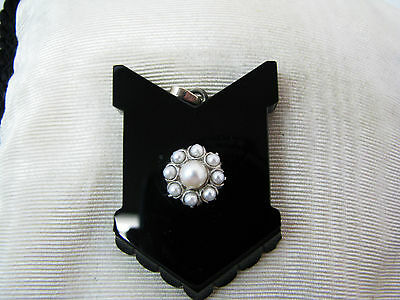 Unique Memorial or Mourning Black Onyx Locket with Pearls in 14k White Gold