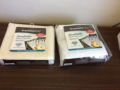 New Cream  or White Breathable Crib Bumper Liner