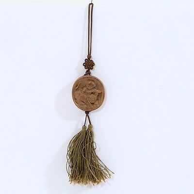 Vintage/Antique Chinese Boy & Tiger Carved Wood Zodiac Symbol with Silk Tassel