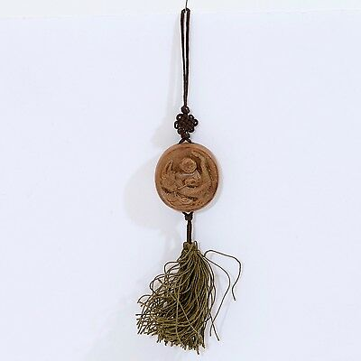Vintage/Antique Chinese Boy & Dragon Carved Wood Zodiac Symbol with Silk Tassel