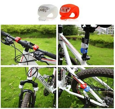 2 Led Front And Back Silicone Mountain Bike Bicycle Push Cycle Rear Light Clip