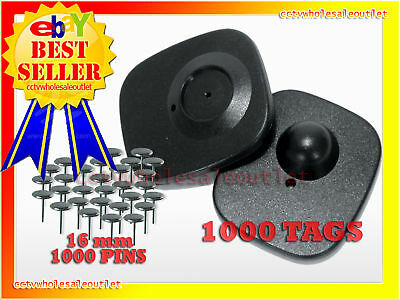 CHECK POINT COMPATIBLE SECURITY HARD TAG 1000 PCS & 16mm PINS 8.2MHZ