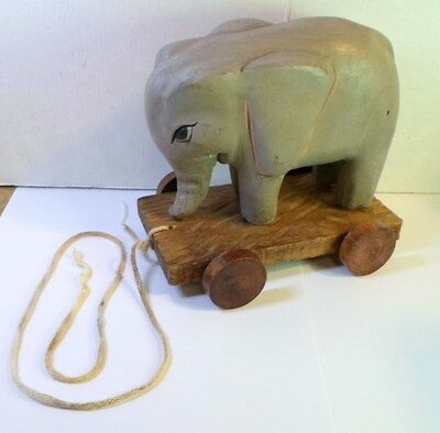 """Vintage WOODEN ELEPHANT on WHEELED CART PULL TOY Hand Carved & Painted Wood 6"""" T"""