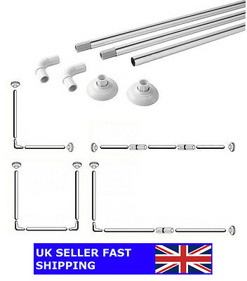 Shower Rail Curtain Rod Chrome - 4 Configurations | L-Shape / U-Shape / Straight