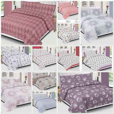 100% Egyptian Cotton Duvet Cover Set, Quilted Duvet Set 200TC Single Double King