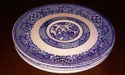 """3 Willow Ware, Blue and White, 6"""" Saucers, Unmarked"""