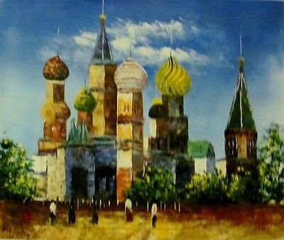 """St. Basil Cathedral in Moscow original oil painting 24""""x20"""" signed by the artist"""
