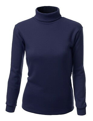 FashionOutfit Women's Solid Basic Turtleneck Long Sleeve Fleece Shirt Layer Top
