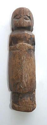 "Much Foundled 19Th Century Nepalese Carved Wood Votive Figure - 6"" Tall"