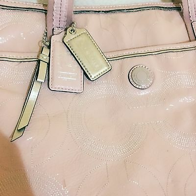 Coach Tote Bag Shinny Leather Pink