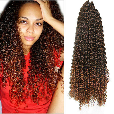 18 Ombre Deep Wave Braids Synthetic Curly Hair Crochet Braiding Extensions