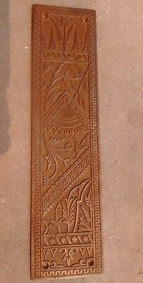 "Eastlake Door Push Plate -Ornate Antique Victorian Bamboo Floral Design 12"" X 3"""