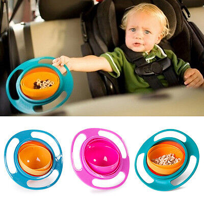 Baby Non No Spill Feeding Toddler Gyro 360 Rotating Bowl Avoid Food Spilling