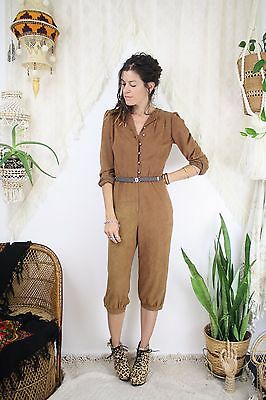 80s Faux-Suede 3/4 Jumpsuit, XS Small 3929