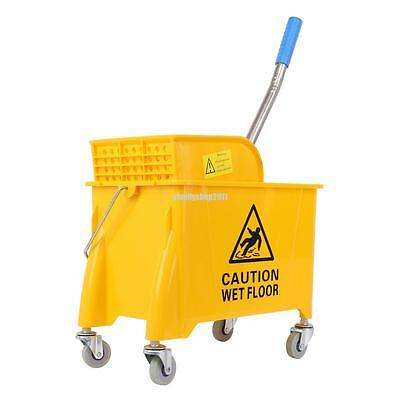 Commercial Mop Bucket with Wringer Side Press Plastic 20L Yellow