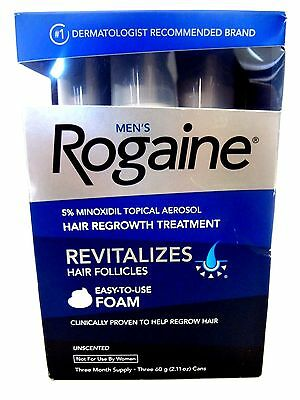 Men's Rogaine Hair Regrowth Treatment Foam, Unscented 3 Month Supply EXP 2018