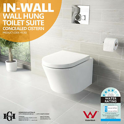 In-Wall Back to Wall Faced Wall Hung Ceramic Toilet Suite w Concealed Cistern