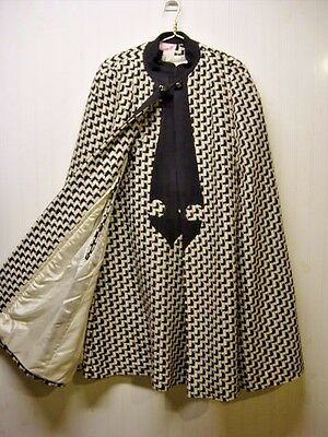 2 PC Dimonelli Black White Houndstooth 100% Wool Cape & Sheath Dress 1950's Vtg
