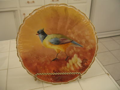 Hand Painted Hp Antique Limoges B & H Porcelain Plate Charger With Pheasant