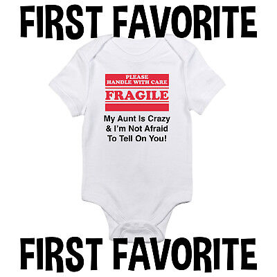 Aunt Fragile Baby Onesie Bodysuit Shirt Shower Gift Infant Unisex Gerber Clothes