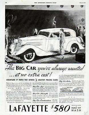 1935 Nash LaFayette Car Ad -Big Car Strength---$580-----t472