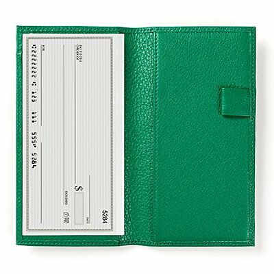 Deluxe Checkbook Cover with Divider - Full Grain Leather - Kelly Green Green