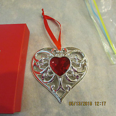 Nice - Lenox Bejeweled Heart Ornament - Silverplate - 856360