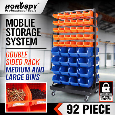 92Pc Mobile Garage Storage Bins Rack Parts Rack Nuts Bolts Organizer Workshop