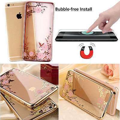 Luxury Diamond TPU Silicone Soft Case Cover +Tempered Glass for iPhone 7 /7 Plus