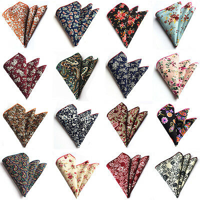 Men Stylish Floral Paisley Cotton Hanky Handkerchief Wedding Pocket Square HZ219