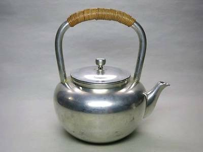 Japanese Antique KANJI old Iron Tea Kettle teapot Silver Chagama 002