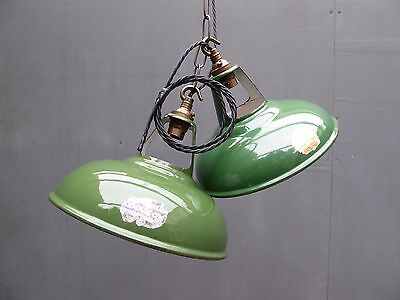 "Vintage Industrial 9"" Coolicon Enamel Pendant Lights Factory Warehouse Salvage"