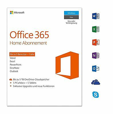 Microsoft Office 365 Home Premium (5 Geräte) - Original Vollversion Key 1 Jahr