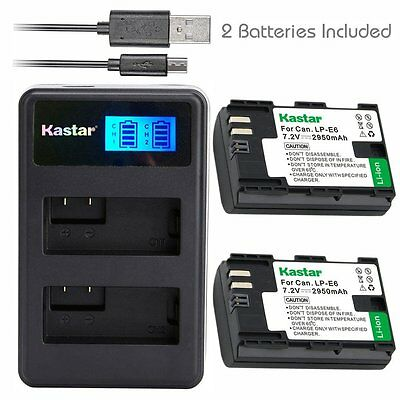 Kastar Battery and LCD Slim USB Dual Charger for Canon LP-E6 EOS 5D 6D 7D 80D