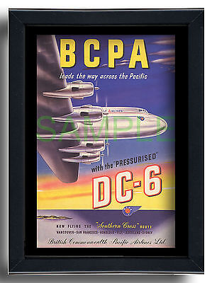 BCPA Leads the way across the Pacific Douglas DC6 framed repro poster 1949