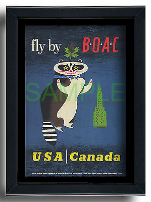 BOAC Fly to USA Canada skyscraper racoon framed repro poster Laban 1956