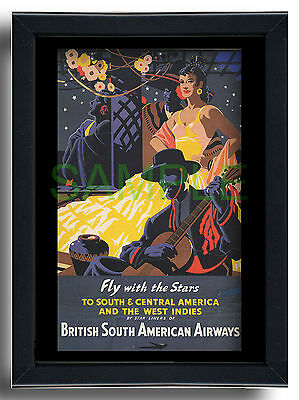 British South American Airways BOAC framed repro poster West Indies 1947