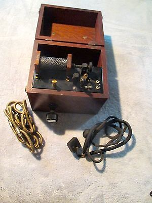 Antique Medical Electrical Shock Apparatus.  Used For Quack Medicine. Oak Case.