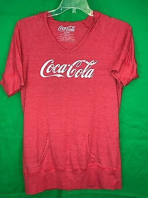 Women's Red Coca Cola Short Sleeve Hoodie Shirt Size XX-Large