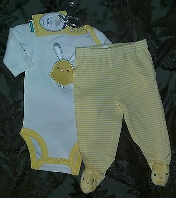 NEW Carter's Precious Firsts 3 Months Baby Easter Bodysuit & Pants Set--Yellow