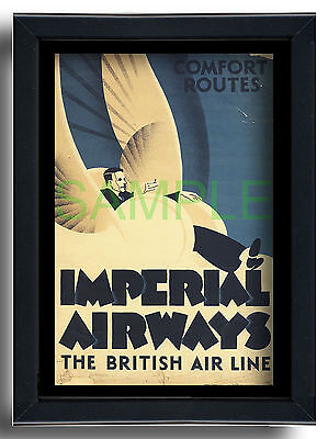 Imperial Airways Comfort Routes framed repro poster 1930