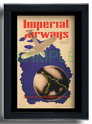 Imperial Airways framed repro poster South Africa Australia 1936