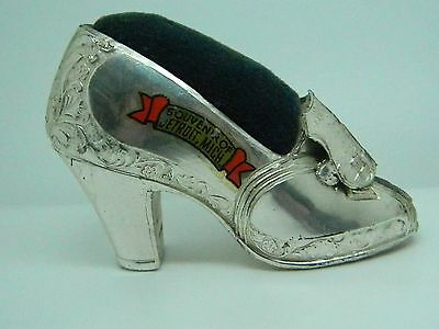 Vintage Ladies Shoe Pincushion Souvenir of Detroit, Mich  1930's-40's