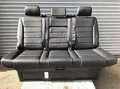 New VW T6 Transporter Caravelle Rear Triple Bed Seat In Full Black Leather