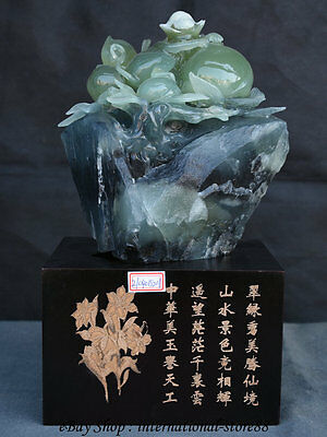 "13"" Chinese Natural Xiu Jade Hand-Carved Animal Zodiac Year Monkey Peach Statue"