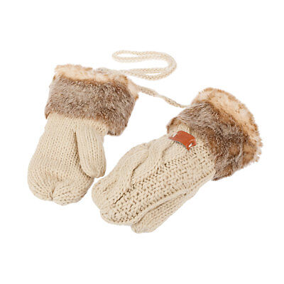 Aran Traditions Warm Beige Knitted Mittens / Gloves (One Size)