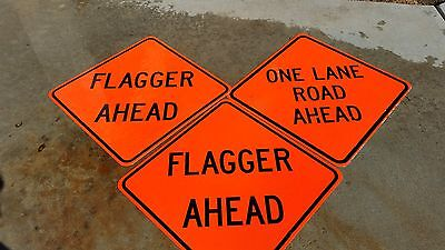 """36"""" X 36"""" Construction Signs  Set Of (3)  2 Flagger Ahead 1 One Lane Road"""