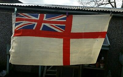 Large Vintage British Royal Navy WWII White  ensign  54x36